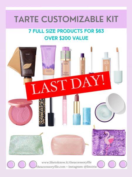 LAST DAY! Tarte customizable kit - 7 full sized products for $63 - over $200 value   http://liketk.it/3hTUd  #liketkit @liketoknow.it #LTKbeauty #LTKsalealert #LTKtravel makeup, skincare, concealer, makeup bag, blush,  foundation, lipstick