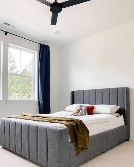 Platform bed, boy bedroom, upholstered bed, white bedding, panel bed, wingback bed