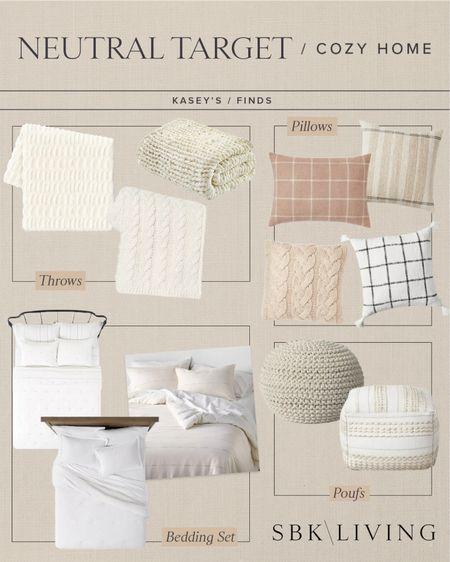 H O M E \ Neutral cozy #target home finds!   #pillows #bedding #pouf #targetfind #bedroomdecor #bedroom #homedecor   #LTKSeasonal #LTKunder50 #LTKhome