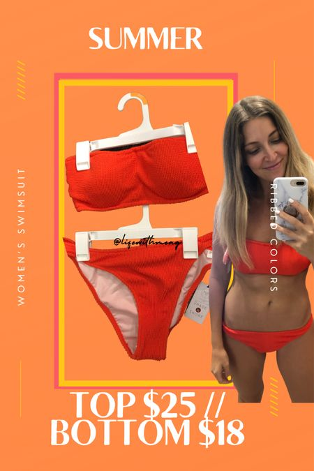 Ribbed swimsuit in multiple colors and the top has two alternatives (bikini or one shoulder).   #LTKswim #LTKtravel #LTKunder50