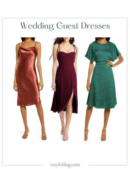 Wedding Guest Dresses, Summer Dress, Midi Dress  Lulus Cowl Neck Satin Slipdress ($74), Dessy Collection Bustier Crepe A-Line Dress ($250), Lulus A-Line Dress ($78 - $79)  #LTKfit #LTKunder100 #LTKwedding