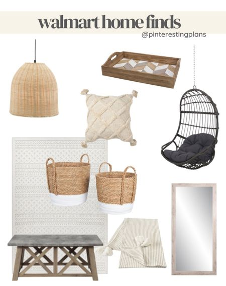 Walmart home, hanging chair, Serena & lily dupe, neutral home, neutral rug