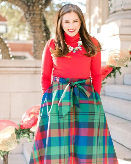 When I saw this holiday plaid skirt on display, I knew it was meant for me. It is colorful, cheerful and gives off a retro vibe of sorts. I must say, I am glad I had the chance to see it in store versus ordering online. It did run small, so I had to go one size up.  http://liketk.it/2yY7T #liketkit @liketoknow.it #LTKholidaystyle #LTKsalealert #LTKunder100 #LTKunder50