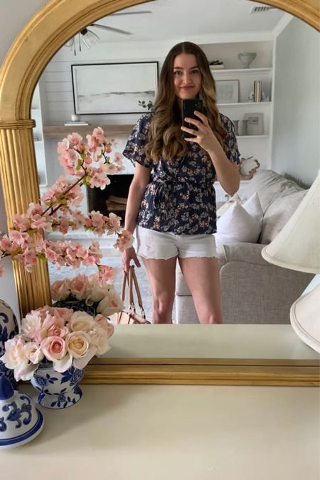 Blue floral top outfit floral blouse mom jeans ripped jeans mom outfit mom style mom hair modest outfit floral top outfit idea summer outfit skinny jeans skinny ripped jeans ripped skinny jeans ripped mom jeans Amazon outfit Amazon top Amazon best selling  #LTKsalealert #LTKunder50 #LTKstyletip