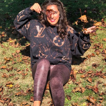 My aerie crackle leggings (a Spanx dupe) are 45% off. (Available in 9 colors) My bleach dyed LV inspired sweatshirt is an Etsy find & an awesome way to support a small business this holiday season. 🤎 #LTKgiftspo #LTKsalealert #LTKstyletip http://liketk.it/32vOo #liketkit @liketoknow.it