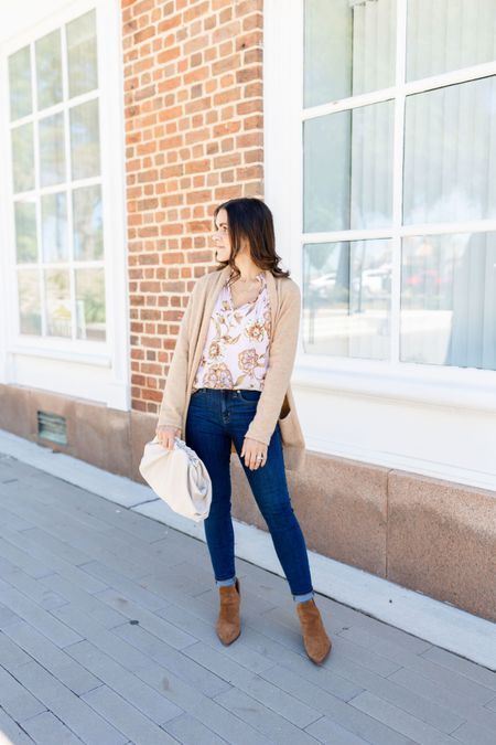 FALL OOTD // One of my all time favorite looks for Fall - pairing floral hues with denim. You? — floral blouse, high rise skinny jeans, booties, Amazon handbag   #LTKunder50 #LTKstyletip #LTKunder100
