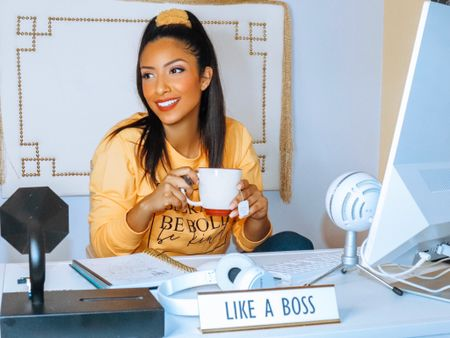 Happy #WomensEntrepreneurshipDay to all the fabulous female entrepreneurs out there! I'm loving my #sheinofficial top with my #goodamerican jeans. My director's chair and desk creates the comfortable space where I can continue to be the #bossbabe that I am. Grab your cup of #tea or #coffee and here's to you! #LTKholidayathome #LTKholidaygiftguide #LTKhome #liketkit @liketoknow.it @liketoknow.it.family @liketoknow.it.home Shop your screenshot of this pic with the LIKEtoKNOW.it shopping app #homedecor #desk #directorschair #wayfair http://liketk.it/2H88H