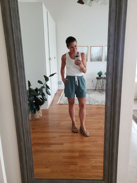 #everlane sweat shorts (tts) #teva sandals (went down 1/2 size) Tank top #able (get 25% off with code STYLETHISLIFE25) http://liketk.it/3iqQn @liketoknow.it #liketkit