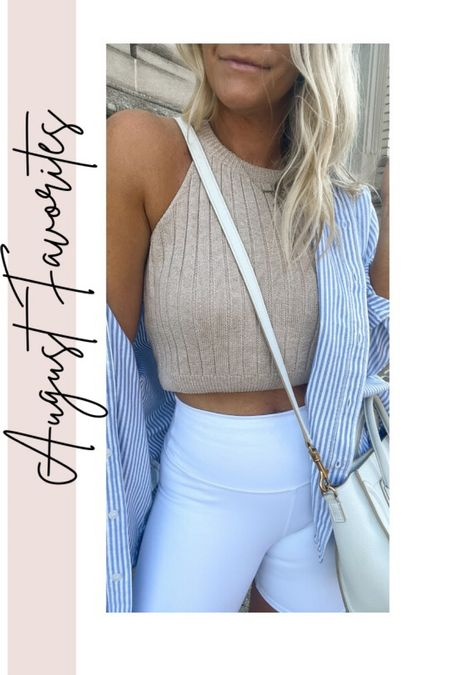 August Favorites- striped button down, white bike shorts, cropped sweater, fall outfits,   #LTKunder100 #LTKstyletip