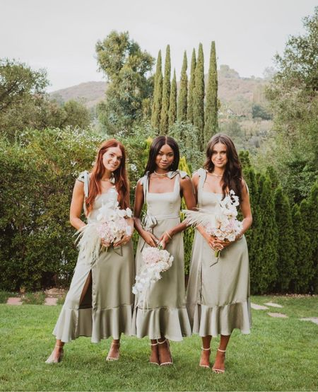 This midi bridesmaids dress is a dream! Comes in Moss Green, Rose Gold and Soft Beige     #LTKstyletip #LTKwedding