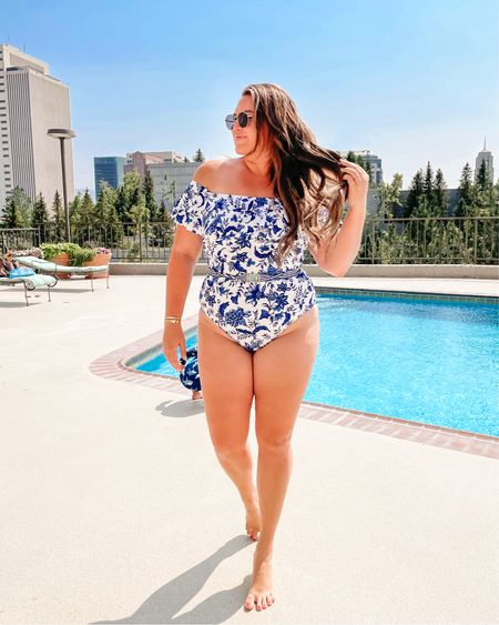 blue floral one piece swimsuit! wearing the size 14 💙   #LTKcurves #LTKswim
