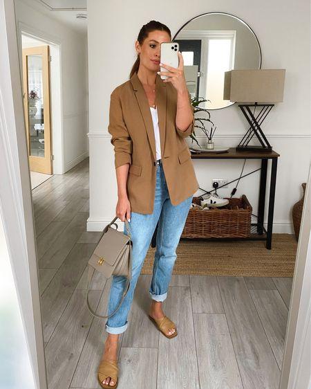 Summer chic  Sizes Blazer 0  T-shirt s Jeans 26 reg Sandals (size up but half a size)    http://liketk.it/3iY5t #liketkit @liketoknow.it