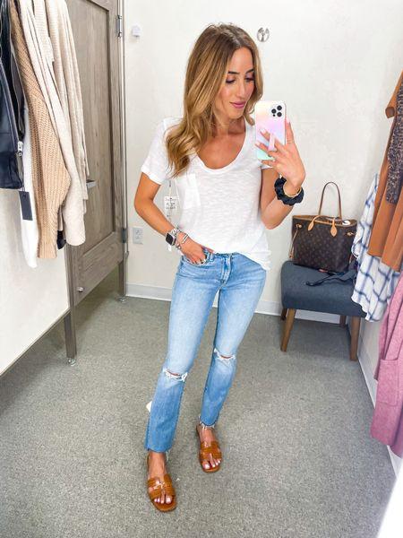 White tee size Xs on sale Jean size 24  #LTKsalealert #LTKunder100 #LTKunder50