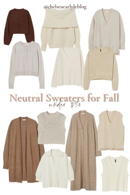 Shop neutral fall sweaters under $30. Perfect for transitioning into fall.  | fall outfit | outfit inspiration | affordable style | affordable oufits | affordable denim | jeans | denim dress | fall dress | fall wedding guest dress | trench coat | coat | jacket | neutral style | sweaters | knits | boots | Chelsea boots | button down | fall layers | hm | h&m |    #LTKsalealert #LTKSeasonal #LTKbacktoschool