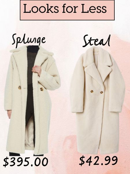Sharing these two fabulous faux fur coats. One is only $42.99 and the other is $395.   Faux winter coat, faux fur coat, Teddy coat, winter white coat, splurge or steal, look for less, affordable faux fur coat    #LTKworkwear #LTKunder50 #LTKstyletip