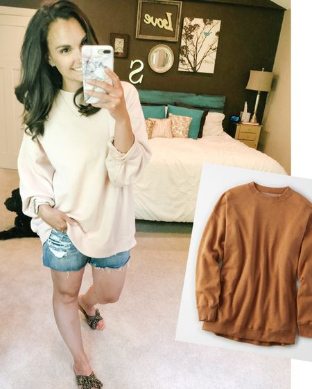 The temps have cooled here today and so I'm back to an oversized sweatshirt. This one I think has my heart! Of all the oversized sweatshirts I've accumulated over COVID this one is my favorite! It's sold out in this color but it's stocked in all sizes in this taupe color, and I'm so tempted to get it!   http://liketk.it/2PPqF #liketkit @liketoknow.it #LTKsalealert Shop my daily looks by following me on the LIKEtoKNOW.it shopping app