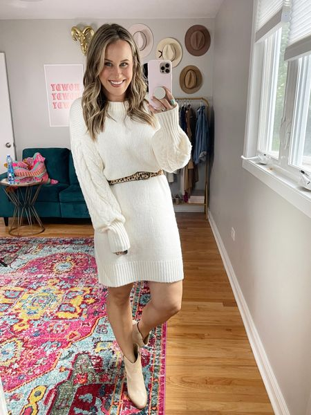 Fall Outfits/// A sweater dress and boots make the cutest outfit, this outfit would be perfect for fall family photos! Wearing a size medium in this fall dress  #LTKshoecrush #LTKfamily #LTKworkwear