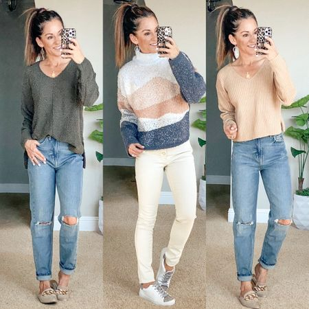 Target sale! 20% off sweaters and jeans!  I'm wearing an xs in all of these cute tops/sweaters the sweater in the middle is not online yet, so you need to grab it in store. size 0 in mom jeans on the left, 00 in the skinny ecru jeans.  Fall style • fall outfit • sweaters • jeans • high waisted jeans • tappered jeans      #LTKunder50 #LTKsalealert #LTKstyletip