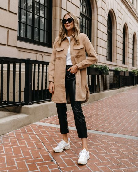 Love this long shacket from Abercrombie (xs) and faux leather pants (tts) #falloutfit   #LTKstyletip #LTKunder100 #LTKunder50