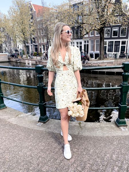Summer essentials - white sneakers, floral dresses, and vintage sunglasses. US links first. http://liketk.it/3fQhG @liketoknow.it #liketkit @liketoknow.it.europe