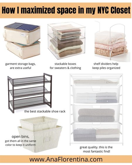Closet storage organization, drawers, shelf divider, shoe rack, clear boxes, stackable, stackable box, open bin, clothing box, talking about each on my blog at www.AnaFlorentina.com    Follow my shop on the @shop.LTK app to shop this post and get my exclusive app-only content! #liketkit    #LTKsalealert #LTKhome #LTKunder50