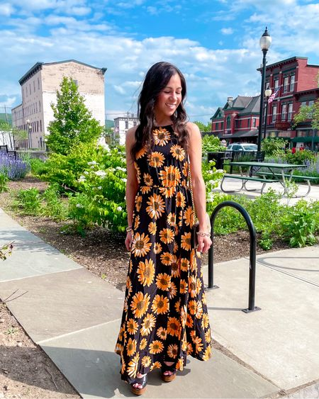 The pretty bracelets I have on in this summery look are on sale for LTK day! My sunflower maxi dress is also only $20.   #LTKDay #LTKwedding #LTKSeasonal
