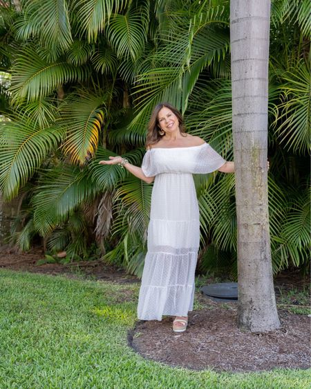 Perfect summer look. White eyelet off the shoulder maxi paired with Chloe wedges.  #wereallinthistogether #agelessstyle #ageless #itsanattitude #styleinspo #ig50community  #mystylemyway #styleover50 #styleover60 #hatlover #clothesthatdontboreme #classiclook #outdoorliving #bechic #beyou #fashionisfun #affordablestyle #fashionjewelrytrends #over60andfabulous #noveltygifts        http://liketk.it/3ifwH #liketkit @liketoknow.it