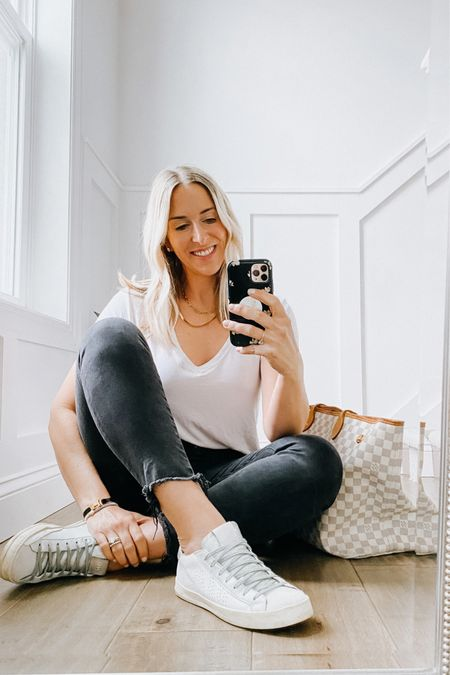 Fave Abercrombie tee is so soft and I love the v-neck. Comes in lots of colors. It does run a tad big but I stuck with my true size M.   A&F super skinny jeans - in black are an all time fave pair of jeans. Run true to size.   P448 shoes    #LTKsalealert #LTKshoecrush #LTKDay