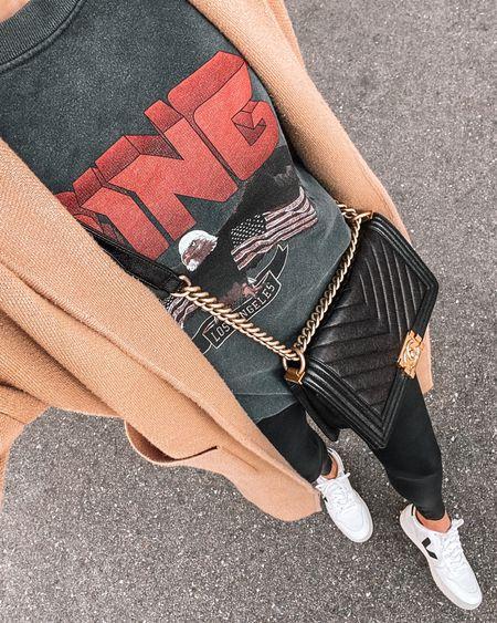 Tan coatigan, Anine Bing graphic sweatshirt, spanx faux leather leggings, Veja sneakers   #LTKstyletip #LTKunder100 #LTKshoecrush