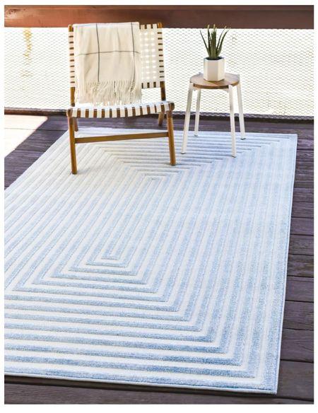 Blue outdoor rug is currently 50% off!!   #LTKsalealert #LTKhome
