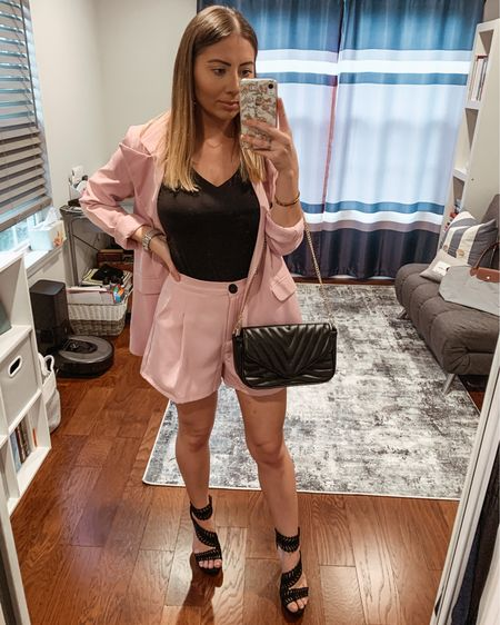 Loving this blazer & shorts set! Perfect for a chilly summer night out 💕 && this handbag is such a steal! Who doesn't love a good Amazon find?! http://liketk.it/3hsn2 #liketkit @liketoknow.it #LTKunder50 #LTKstyletip #LTKsalealert