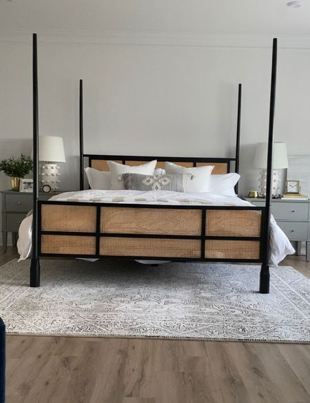 Shop my cane and black bed, nightstand, and all my bedding. Get 20% off my bedding with code LEANNE20  #LTKsalealert #LTKSeasonal #LTKhome