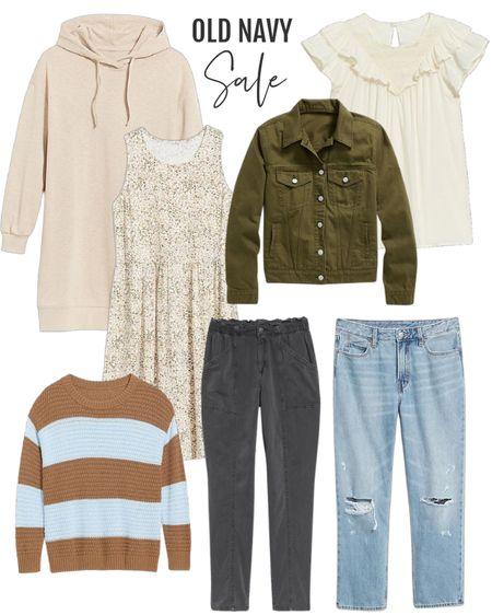 Cozy comfy fall fashion from Old Navy. Labor Day sale alert! 🚨🚨🚨🚨 These are my favorite distressed jeans. Women's fashion  #ltkunder50 #ltkfamily #ltkcurves  #LTKstyletip #LTKbacktoschool #LTKsalealert