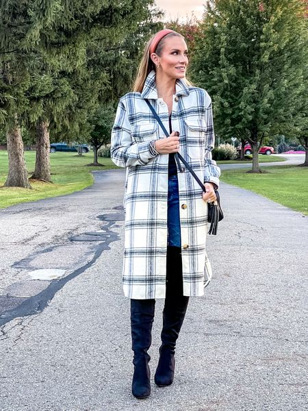 Cutest plaid shacket for fall is on sale 🙌🏼 wearing size:Small. Amazon over the knee fall boots are so comfy and under $50   #LTKSeasonal #LTKunder50 #LTKshoecrush