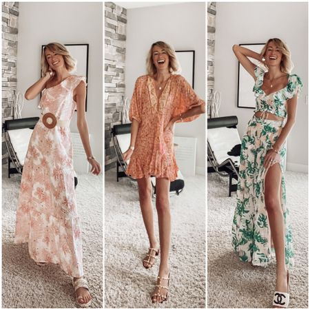 #rdbabe red dress boutique summer vacation outfits so perfect for the beach! Tropical dress and two piece set Woven belt  Date night dresses   #LTKstyletip