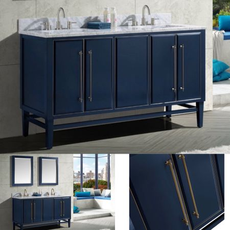 Memorial Day Weekend Sale, Save Big —-the design of this navy blue vanity is striking thanks to its Art Deco influenced details.   #LTKsalealert #LTKhome