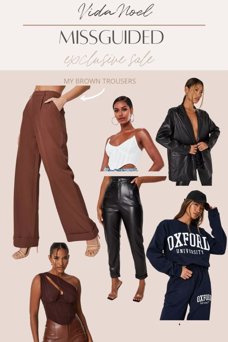 Missguided sale Faux leather Trousers Fall  Fall outfits Corset top Pullovers   #LTKSale #LTKstyletip #LTKsalealert