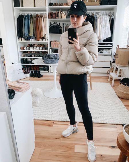 Neutral puffer coat on sale! Beige puffer. Athleisure wear.   Coat - Uniqlo xs (could go down a size) Leggings - Zella xs Sneakers - Nike 6 (go up a full size) Hat - Portland Gear   http://liketk.it/37iou #LTKshoecrush #liketkit @liketoknow.it #LTKsalealert