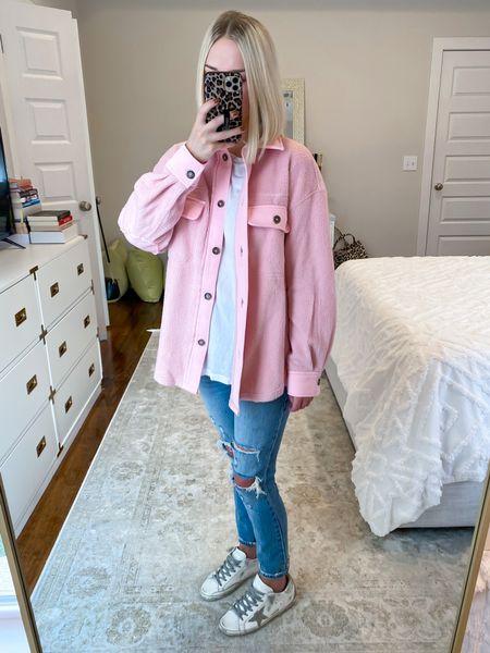 Free People inspired jacket Amazon finds Amazon pink shacket Size: SM  #LTKSeasonal #LTKHoliday #LTKunder50