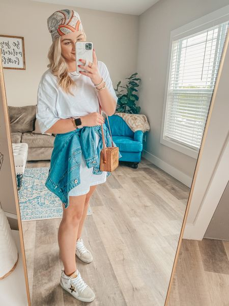 the best t-shirt dress paired with the paisley scarf that you can style so many different ways!  Dress: wearing a M   http://liketk.it/3gKVu @liketoknow.it #liketkit #LTKstyletip #LTKunder100 #LTKitbag