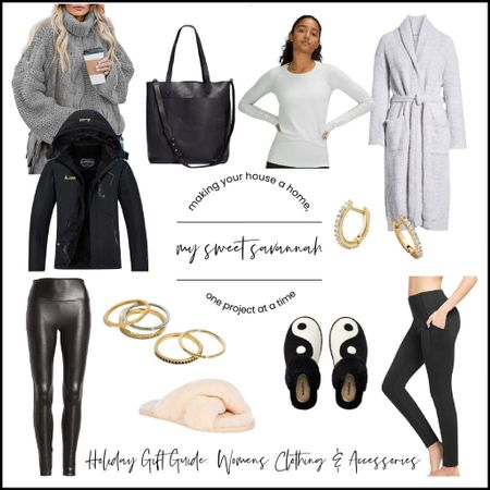 My 2021 gift guide fir her! Cozy everything:sweaters, fleece lined yoga pants, fuzzy slippers, spanx, a great leather tote, jewelry and more!   #LTKGiftGuide #LTKSeasonal #LTKHoliday