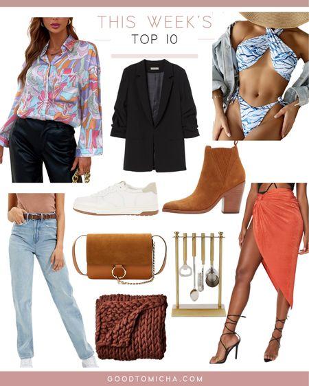 This week's top ten items - boots, sneakers, blazer, beach shirt, mom jeans, swimsuit, blanket + more!  #LTKswim #LTKSeasonal #LTKshoecrush