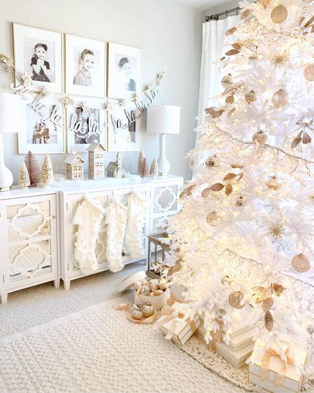 White glam Christmas decor, Christmas tree. Pom Pom stockings   #LTKhome #LTKHoliday #LTKSeasonal