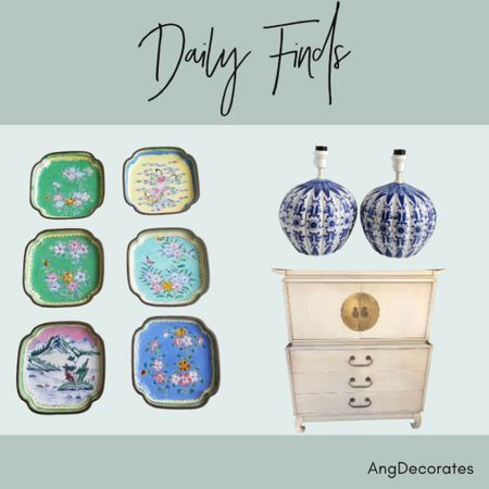 Daily Finds: Blue and white pumpkin shaped lamps, Chinoiserie platters (would be gorgeous on a wall!), and a Chinoiserie high boy.   #LTKhome
