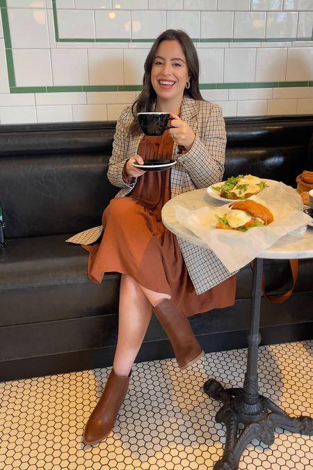Fall outfit idea! Love this rust dress, plaid blazer and brown booties   Fall style / maternity friendly / fall outfit / maternity outfit / plaid blazer / madewell    #LTKbump #LTKSeasonal #LTKstyletip