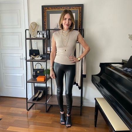 Happy International Leggings Day!  Starting today 10/15 - 10/18 all regular priced leggings will be $59.  You will want a pair of @somaintimates vanishing edge panties when wearing these leggings. I promise no lines will show!  Faux leather leggings, whbm runway leggings, soma panties, soma vanishing edge panties, fall fashion, faux leather leggings look    #LTKsalealert #LTKunder100 #LTKstyletip