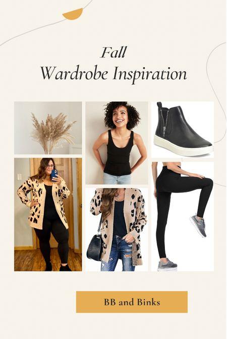 Fall Wardrobe Inspiration  Leopard Cardigan, leggings, tank top, wedge sneakers  #LTKstyletip #LTKunder50 #LTKSeasonal