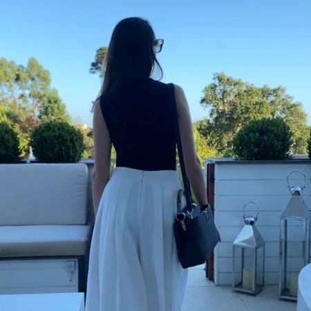 Walking into a beautiful U.K. summer evening down in Devon. Keeping it simple with a black bodysuit, wide leg culottes and Louis Vuitton Capucines bag.   #louisvuittonbag #louisvuitton #lvcapucines #louisvuittoncapucines   #LTKtravel #LTKstyletip #LTKSeasonal