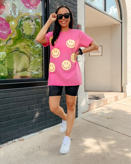 RED DRESS TRY ON feat: this all smiles bubblegum pink graphic T! Wearing the size S/M and paired with their black ribbed biker shorts in size small. A super fun & casual summer look! 😍Screenshot this pic to get shoppable product details with the @liketoknow.it shopping app: http://liketk.it/3hyHG #liketkit #LTKunder50 #LTKunder100 #LTKstyletip