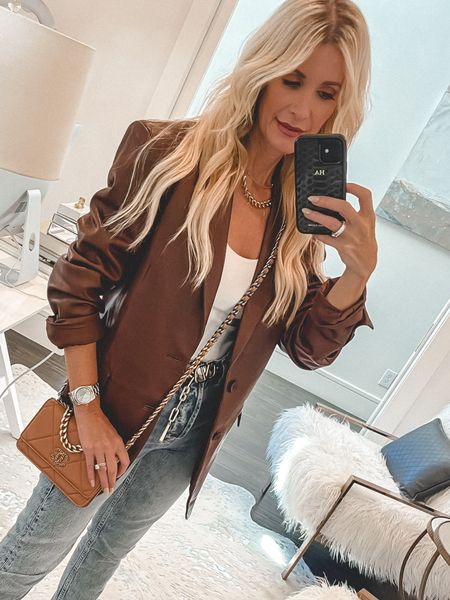 Obsessed with this over-sized leather blazer for fall. It runs tts I'm wearing an xs.  #LTKunder100 #LTKSeasonal #LTKunder50